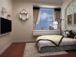 田园风格卧室碎花壁纸背景墙装修效果图