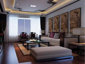 現代中式風格客廳背景墻裝修效果圖