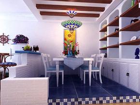 地中海风格餐厅吊灯吊顶装修效果图