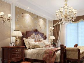 美式风格卧室实木双人床图片