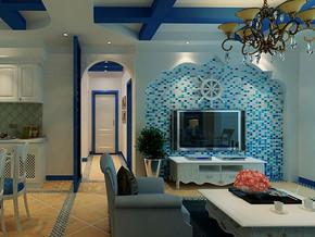 地中海风格客厅电视墙装修设计效果图