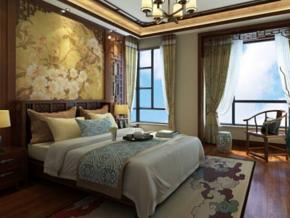 新中式風格臥室雙人床圖片
