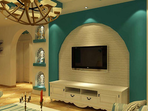 地中海客厅电视背景墙装修效果图