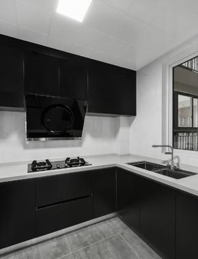 高冷灰色系三居廚房櫥柜裝修效果圖