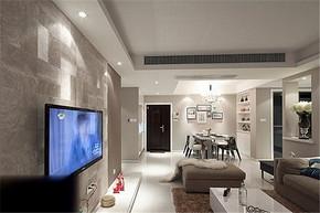 现代风格两室一厅客厅背景墙装修效果图