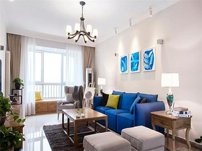 藍色韓式一室裝修效果圖