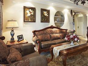 典雅复古美式风格三室两厅装修实景图
