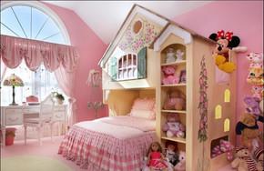 粉色现代公主风儿童房装修设计图