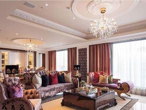 地中海欧式风格客厅吊顶吊灯装修效果图