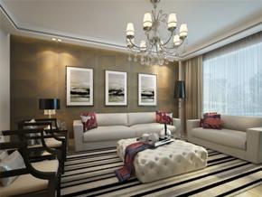 现代简约三居室客厅照片墙装修效果图