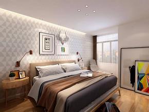 日式風格臥室床頭背景墻裝修效果圖