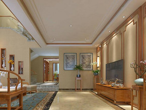 中式风格客厅电视背景墙装修效果图