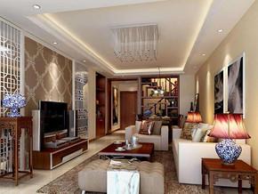 新中式風格客廳吊頂裝修設計效果圖