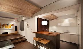 日式风格现代原木吧台装修效果图