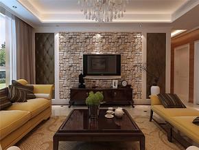 現代簡約風格四居室客廳電視墻效果圖