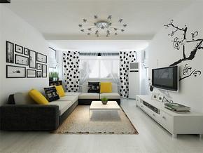 黑白色客厅设计效果图