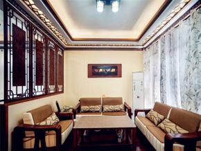 素净中式风格客厅吊顶装修设计