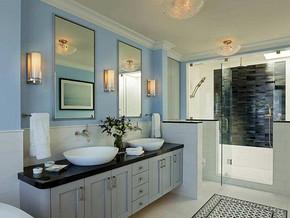 美式田园风格卫生间浴室柜装修效果图