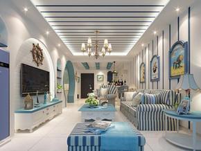 地中海风格客厅吊顶吊灯装修效果图
