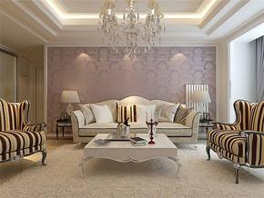 歐式客廳紫色沙發背景墻效果圖