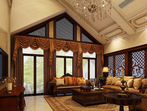 美式別墅寬敞客廳裝修