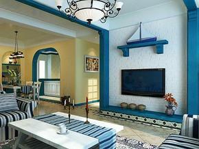 地中海风格客厅电视背景墙装修效果图