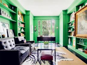文艺新古典风格客厅绿色背景墙设计图