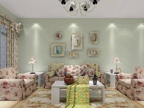 韩式田园风格客厅沙发背景墙装修效果图