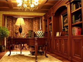 美式风格书房书柜装修设计效果图