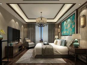 新中式風格臥室吊頂裝修效果圖