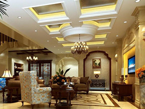 欧式风格别墅客厅吊顶吊灯装修效果图