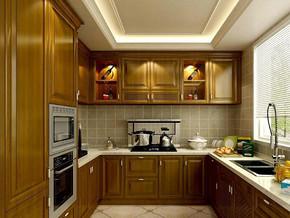 歐式風格廚房實木櫥柜裝修效果圖