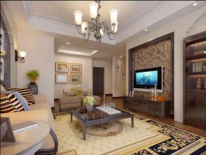 美式风格客厅电视背景墙装修效果图