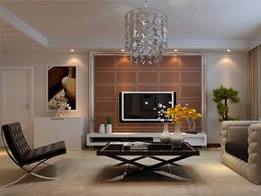 三居136平米现代风格客厅电视背景墙装修效果图