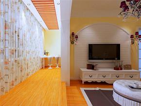 二居田园风格客厅电视背景墙装修效果图