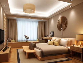 日式风格卧室背景墙装修效果图