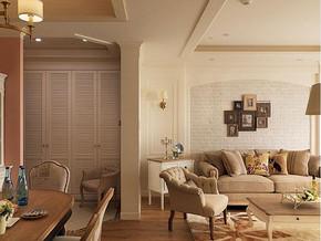 美式乡村风格客厅沙发背景装修效果图