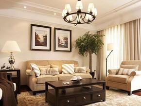 簡約美式風格客廳背景墻裝修效果圖