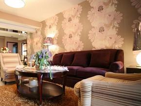 美式风格客厅壁纸装修效果图