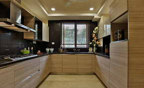 現代風格木質條紋櫥柜裝修效果圖