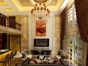 美式风格客厅吊顶吊灯装修效果图