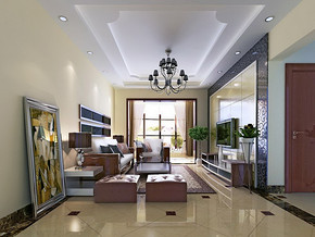 两室两厅一卫家装效果图