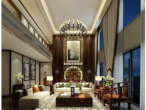 新中式風格客廳中空吊頂裝修效果圖